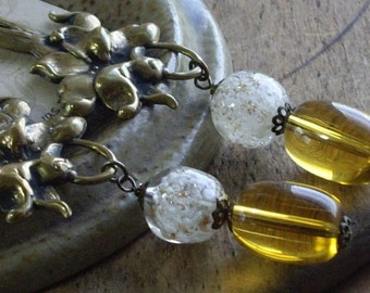 Vintage Assemblage Dangle Earrings Floral Brass Stampings Glass Bead Drops