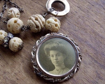 Vintage Assemblage Necklace Antique Photo Pin Railroad Key Carved Bone Beads