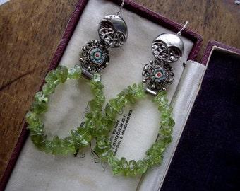 Vintage Assemblage Peridot Hoop Dangle Earrings