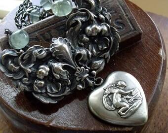 Antique Assemblage Necklace Cherub Medal Moss Aquamarine