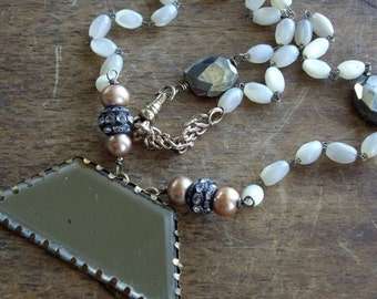 Antique Assemblage Necklace French Mirror Mother of Pearl Rhinestones Pyrite
