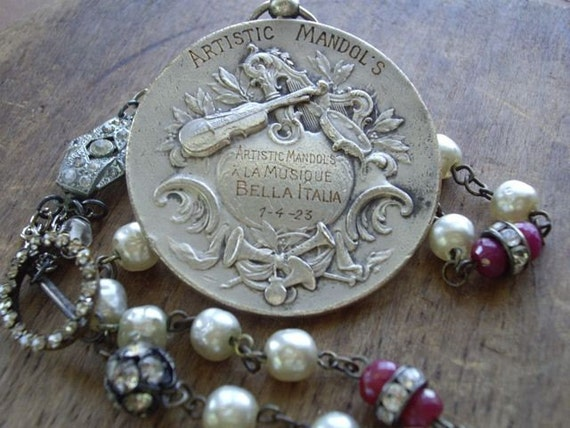 RESERVED for T Antique Music Art Medal Necklace    A Symphony of Antique Decadence   Antique and Vintage Assemblage