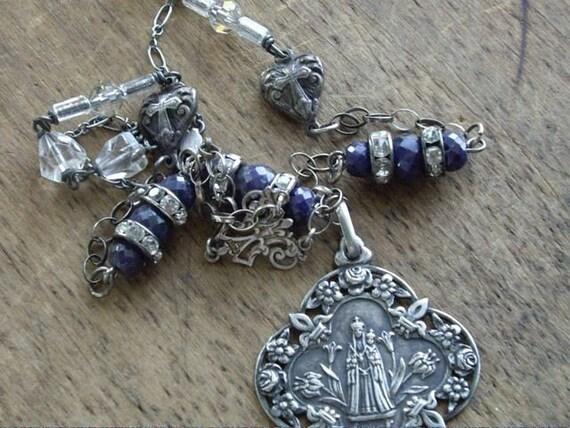 Sterling Silver French Antique Medal Necklace Souvenir De Mon Jubile   Antique and Vintage Assemblage