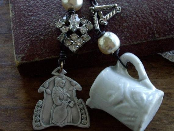 SALE  Antique Belgium Medal 1913 Vintage Assemblage Necklace  Daydreamer