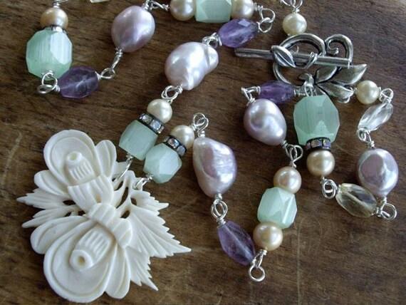 Vintage Carved Bone Flower Assemblage Necklace Amethyst Citrine Blue Topaz Pearls