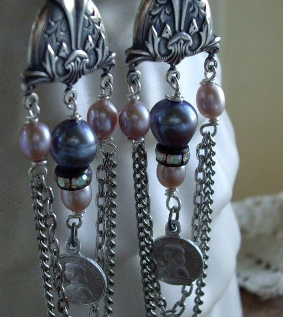 Joan of Arc and Pearls Vintage Assemblage Dangle Earrings