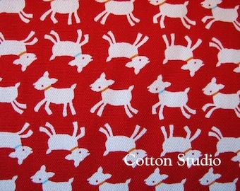 Goat Farm Animal Japanese Fabric Red 5 Yards