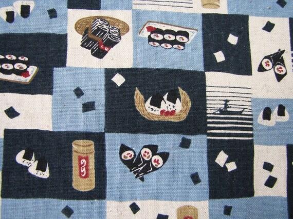 Japanese Fabric Bento Sushi Linen Blend FQ Fat Quarter