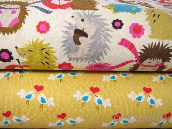 Hedgehog Meadow Lovebirds Michael Miller 1 Yard Set