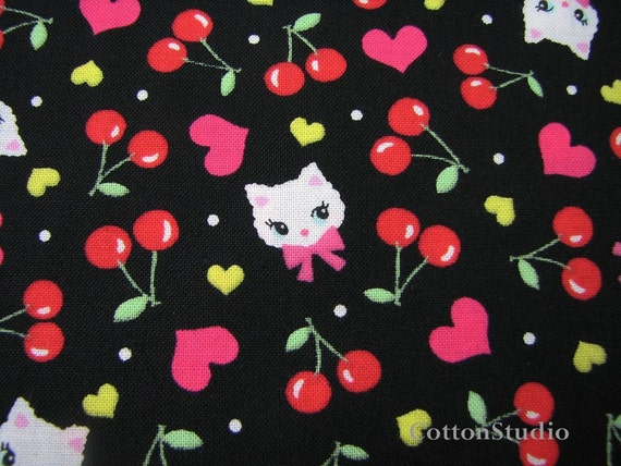 Kawaii Japanese Kitty Cat Fabric Black 1 Yard - Lecien