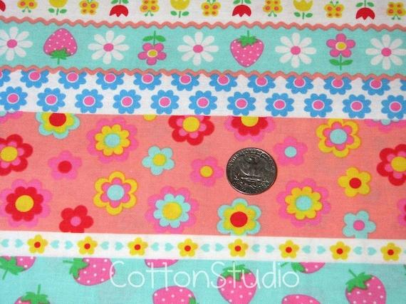 Kawaii Strawberry Mushroom Border Japanese Fabric by the Half Yard Lecien