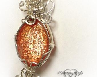 Late Summer Sunstone Silver Fancy Pendant