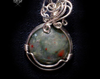 Bloodmoss Mystery Copper Wire Wrapped Pendant