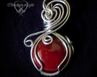 Blood Drop Red Obsidian and Copper Wire Wrapped Pendant