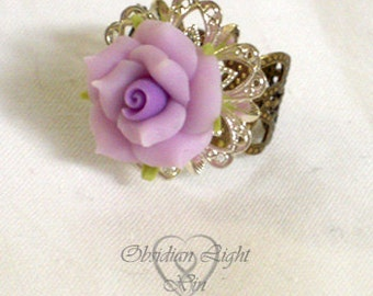Gradient Purple Rose Clay and Metal Adjustable Ring