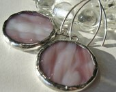 Pink Textured Round Stained Glass Earrings