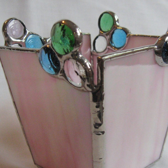 Pretty Pink Stained Glass Candleholder