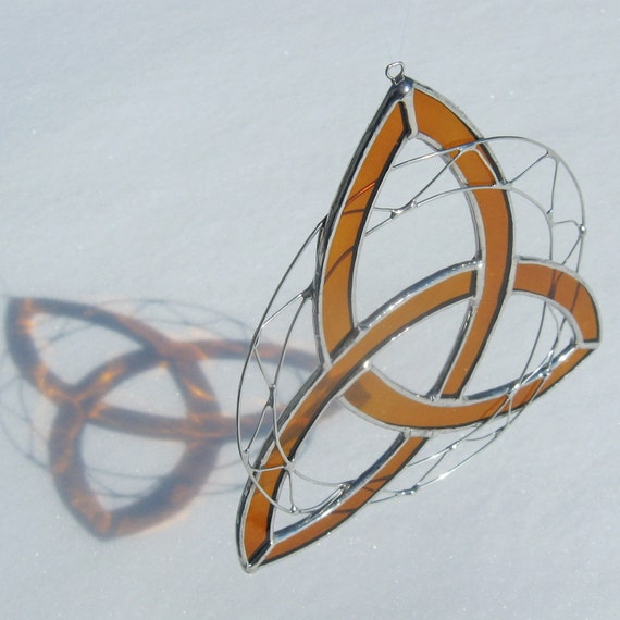 Celtic Trinity Knot Triquetra Stained Glass Suncatcher-Orange with Wire