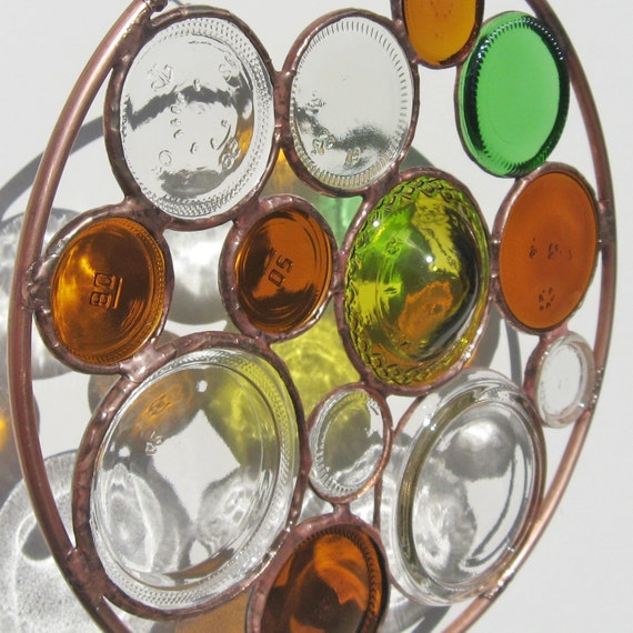 Round Recycled Stained Glass Suncatcher with Upcycled Glass Jars
