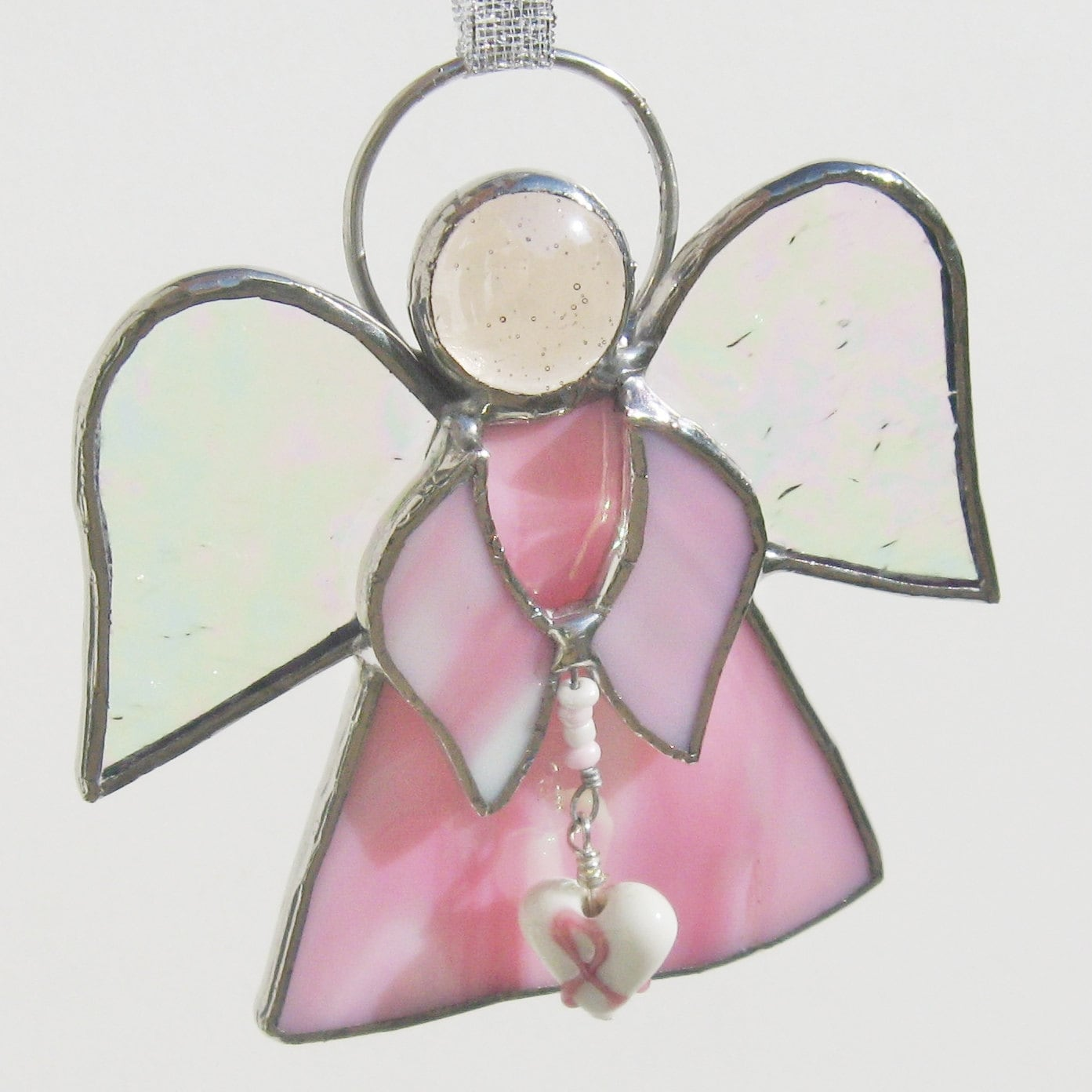 Pink stained glass angel with breast cancer by fivesparrows