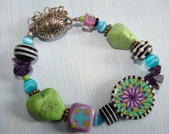 Polymer Clay and art glass bracelet