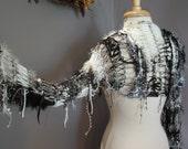 Urban Gothica Sleevie - OOAK Knit Long Sleeved Shrug - NEW Design- Versatile sleeved shrug wears as scarf