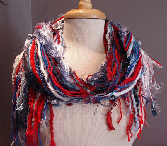 Medium Red, White and Blue Fringie - All Fringe Hand tied scarf for US Olympics, 4th of July, New England Patriots, Political wear and more