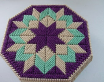 Quilt Box For Your Sewing Notions, Needlepoint Octagon Shaped Box,  Hand Made Storage Box