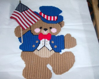 Independence Day Teddy Bear Wall Hanging, Patriotic Teddy Bear Wall Hanging,