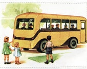 Dick and Jane - Big Yellow Car Retro Card
