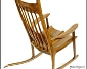 Built-to-Order, Sam Maloof Inspired Handmade Rocking Chair Black Walnut  Modern Contemporary Rocker