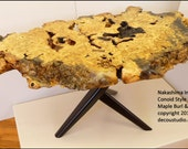 Built-to-Order, Nakashima Inspired Conoid Style Contemporary Side Table Burl Natural Edge Walnut Leg Art furniture