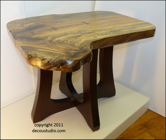 Built-to-Order, , Nakashima Inspired Modern Contemporary End Side Table Furniture Extraordinary Figured Spalted Sycamore and Walnut