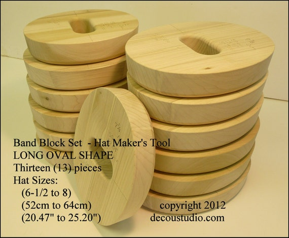 Built-to-Order, Band Block Set, Thirteen (13) pieces, Hat Maker's Millinery Tool - LONG OVAL Shape, Hat Size Ranges 6-1/2 to 8