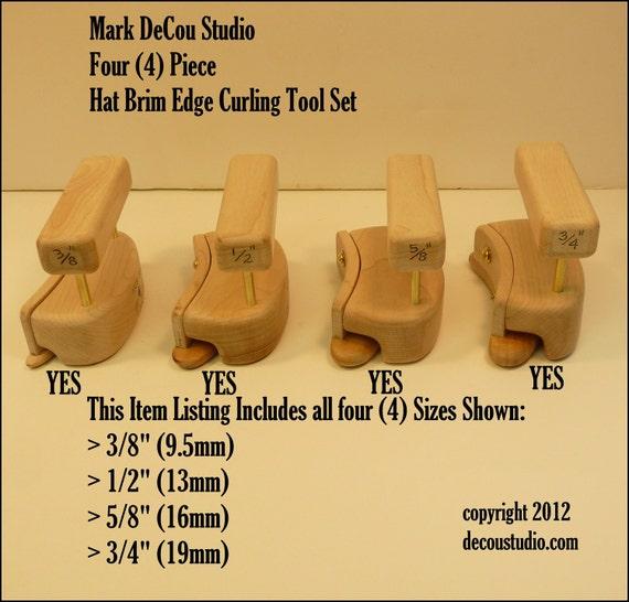 "Built-to-Order, Hat Making Tool, Kettle Pencil Curl Brim, Four (4) piece SET, Half Circle Shackles, (Dia. 0.375"", 0.50"", 0.625"", 0.75"")"