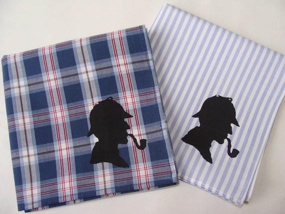 Sherlock Holmes Handkerchiefs, 2 Silk-Screened Sneezy Sheets
