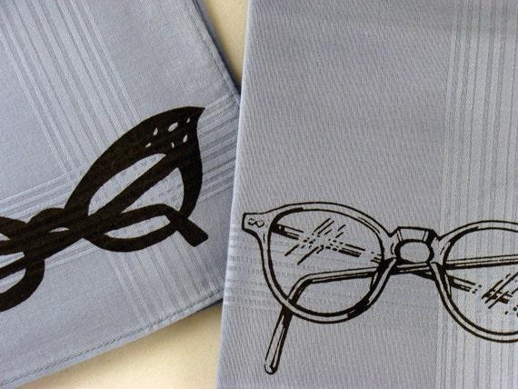 Handkerchiefs, 2 Silk-Screened Sneezy Sheets, Eyeglass Print