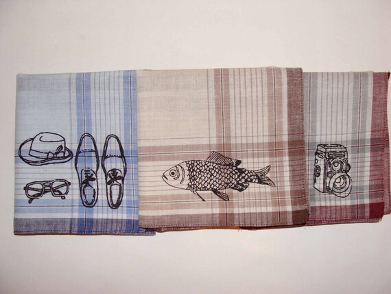 Sneezy Sheets, Set of 3 Silk-screened Handkerchiefs