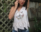 Shabby Romantic Short Tea Stained Petal Top Peace Sign Top Cotton S-M Lucky & Chic