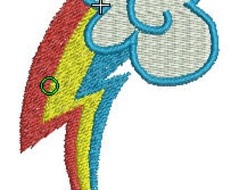 Rainbow Dash Cutie Mark Embroidery Design File - Pick Your Size & Format