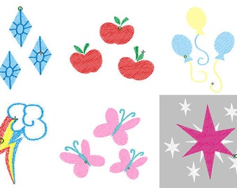 SET OF 6 Cutie Mark Design Files - Pick Your Size & Format