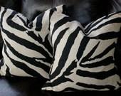 2 Throw Pillows-Zebra Black Linen-Pure Elegance