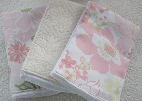 Baby Girl Burp Cloths, Set of 3