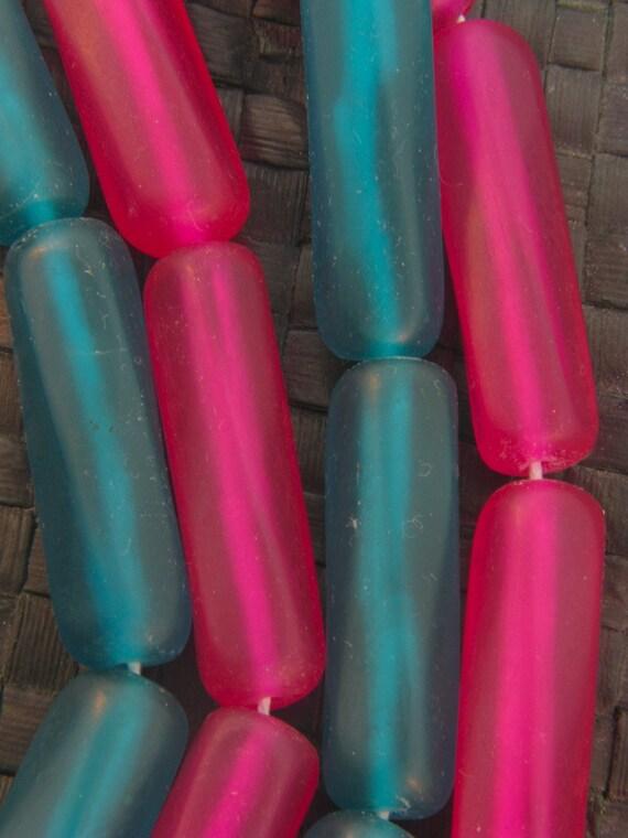 SALE 50% - Funky MIX - Hot Pink and Aqua Blue- 4pcs - 40mm