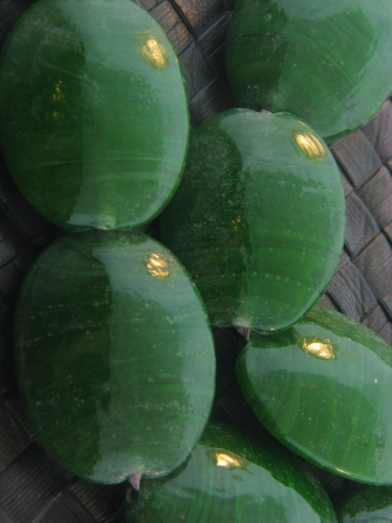 CLEARANCE - Stunning - LARGE - GREEN - Glass - Oval Beads - 2 pcs - 33 mm
