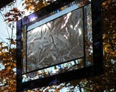 Stained Glass window panel purpleand leaf pattern