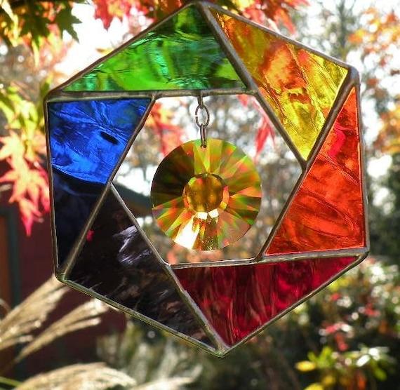 Rainbow Stained Glass Suncatcher with topaz swarovski crystal