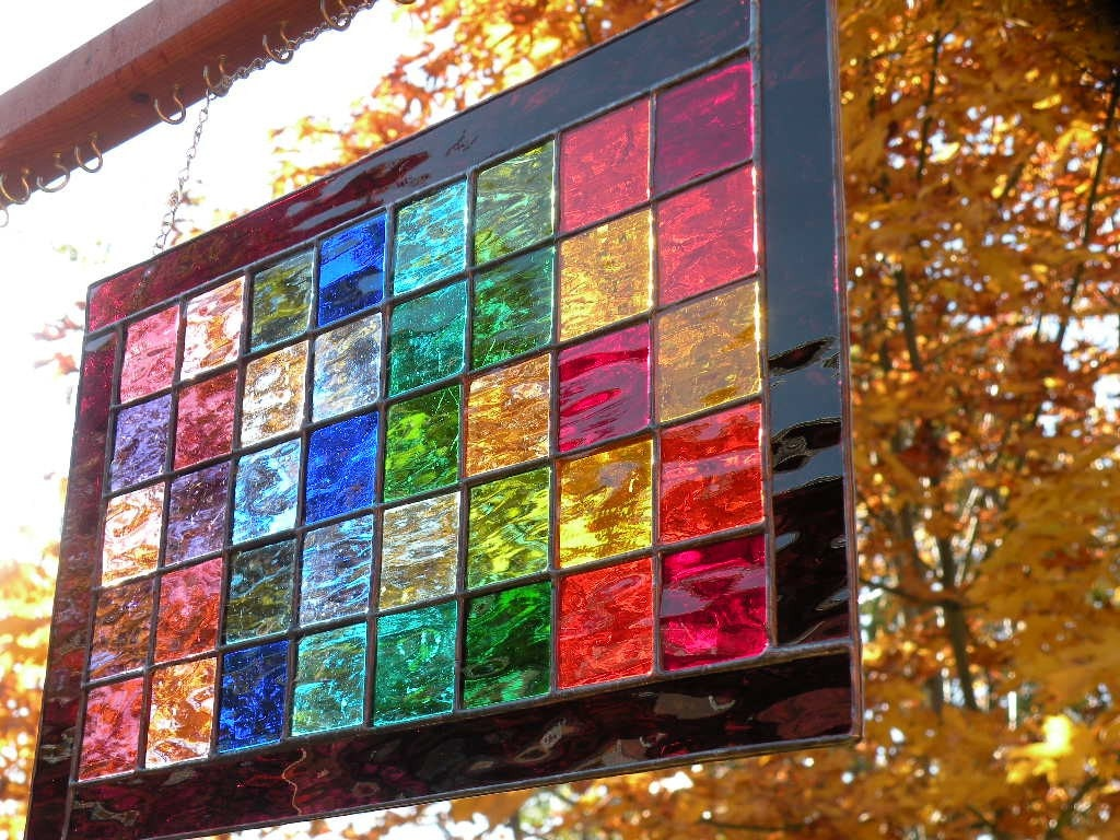 Rainbow stained glass window panel rectangular by for Coloured glass panels