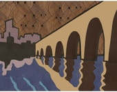 Stone Arch Bridge Print - Minneapolis Cut Paper Collage Artwork