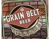 Grain Belt Beer Sign print - Minneapolis cut paper artwork